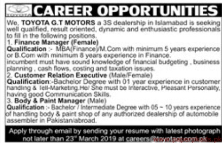TOYOTA GT Motors Jobs 2019 Latest