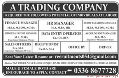 Trading Company Jobs 2019 Latest