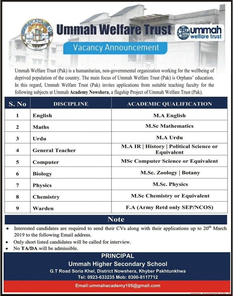 Ummah Welfare Trust Jobs 2019 Latest