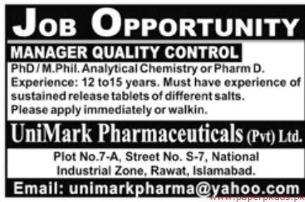 UniMark Pharmaceuticals Private limited Jobs 2019 Latest