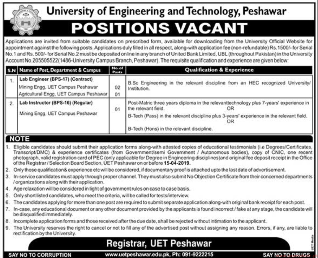 University of Engineering and Technology Jobs 2019 Latest