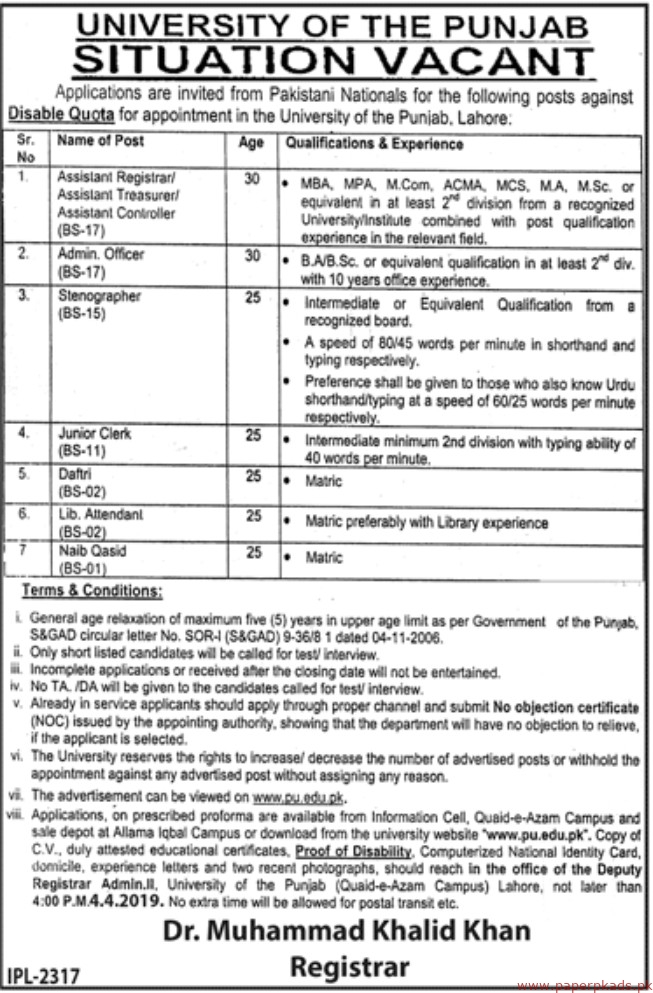 University of the Punjab (PU) Jobs 2019 Latest