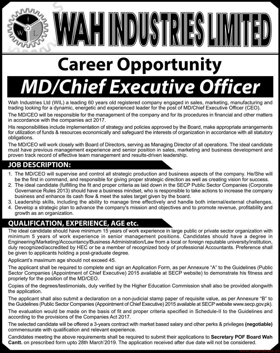 WAH Industries Limited (WIL) Jobs 2019 Latest