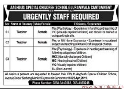 AAGHOUS Special Children School Jobs 2019 Latest