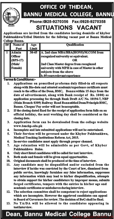Bannu Medical College Jobs 2019 Latest