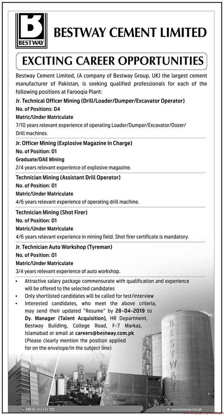 Bestway Cement Limited Jobs 2019 Latest