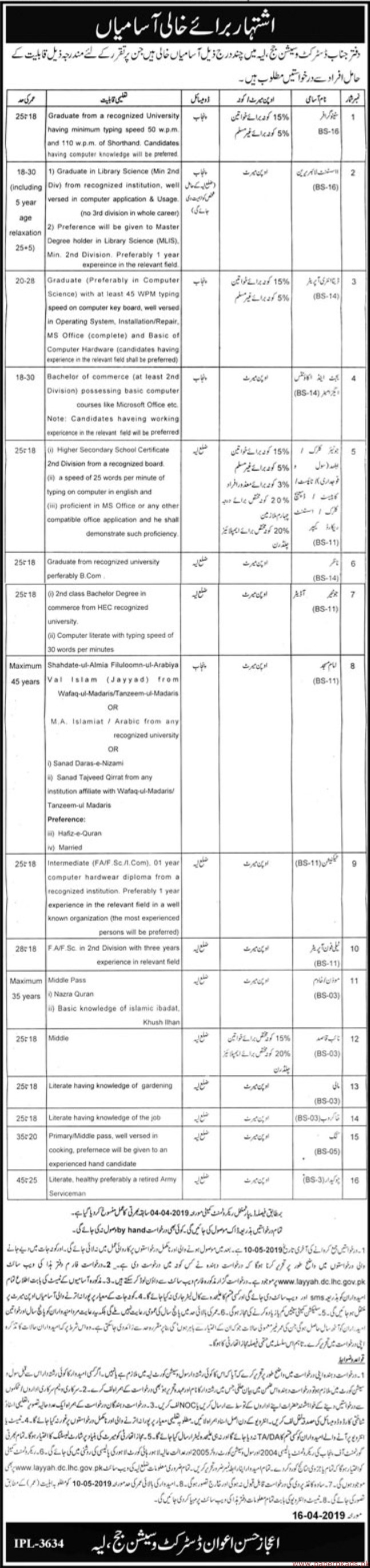 District & Session Court Layyah Jobs 2019 Latest