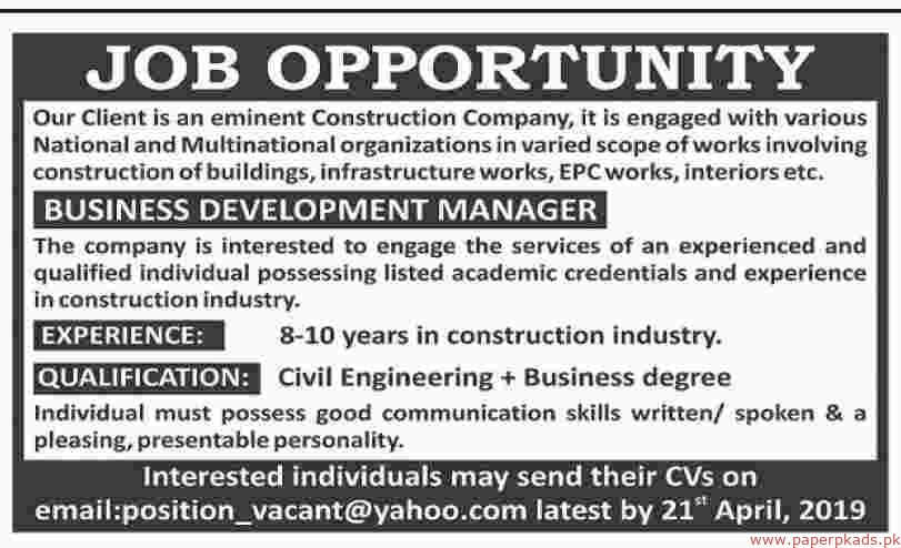 Eminent Construction Company Jobs 2019 Latest
