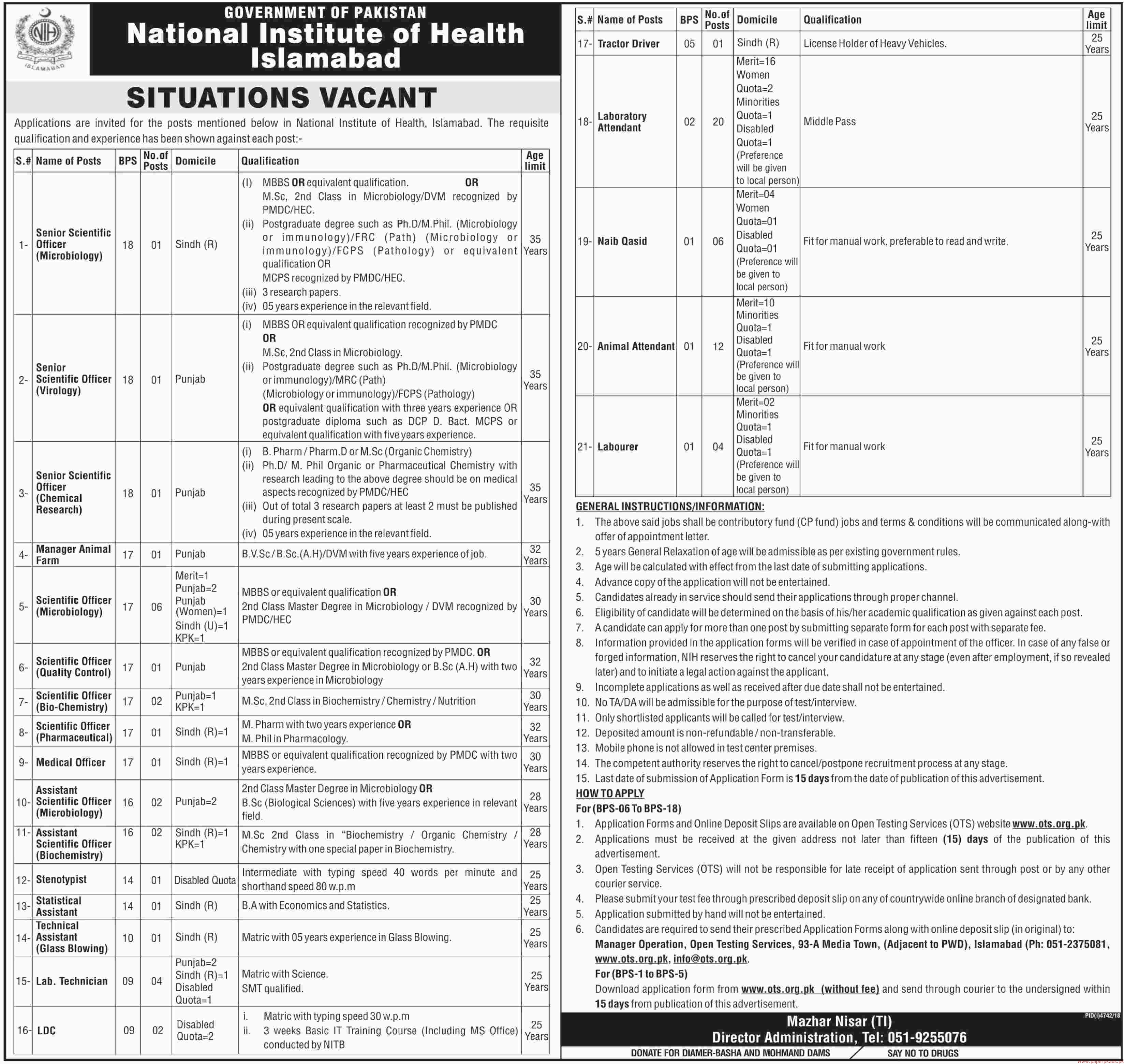 Government Of Pakistan National Institute Of Health Islamabad Jobs 2019 Latest