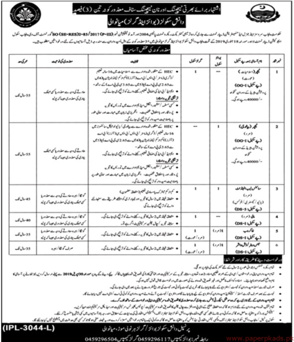 Government of the Punjab - Services and General Administration Department Jobs 2019 Latest
