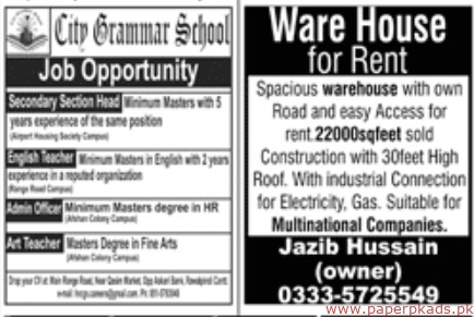Jobs in Jang Newspaper 07 April 2019