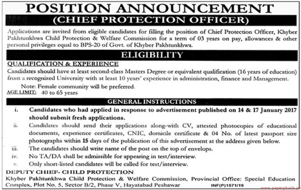 Khyber Pakhtunkhwa Child Protection & Welfare Commission Jobs 2019 Latest