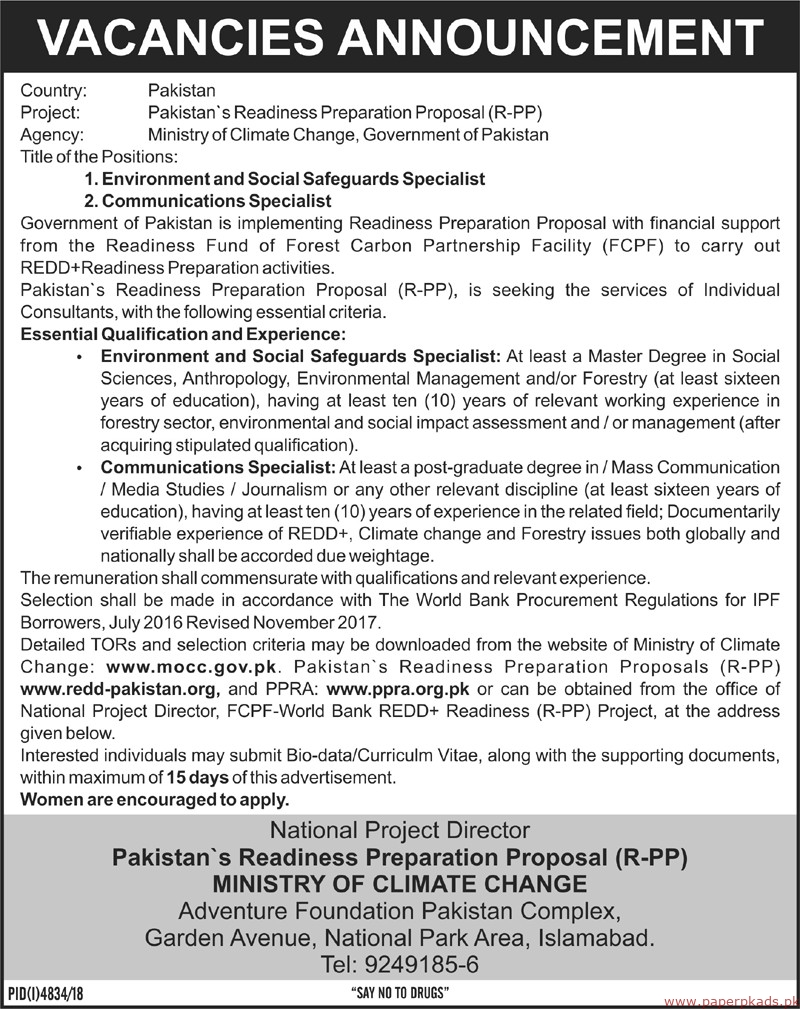 Ministry of Climate Change Jobs 2019 Latest