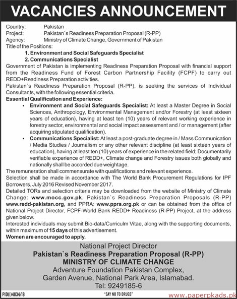 Ministry of Climate Changes Latest Jobs 2019