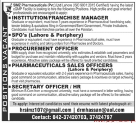 SIMZ Pharmaceuticals Private Limited Jobs 2019 Latest