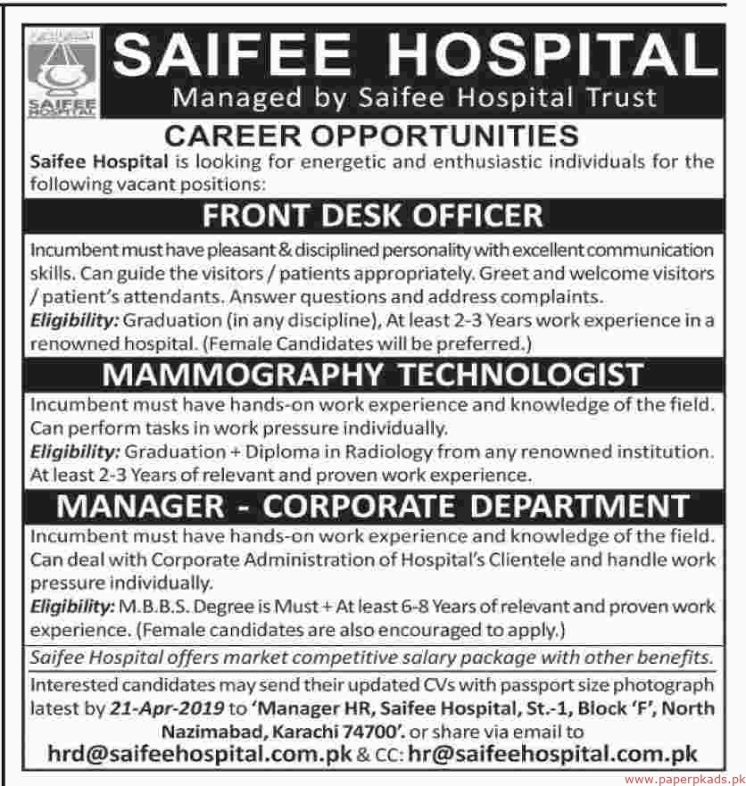 Saifee Hospital Jobs 2019 Latest