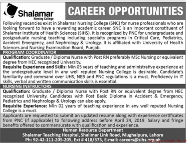 Shalamar Nursing College Jobs 2019 Latest