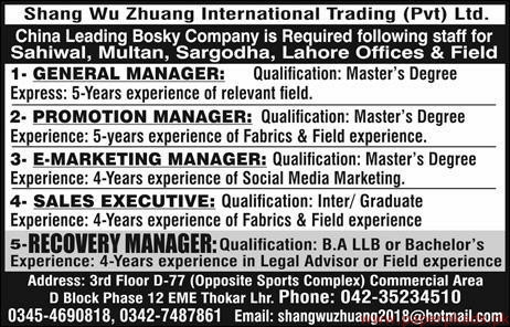 Shang Wu Zhuang International Trading Private Limited Jobs 2019 Latest