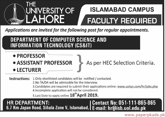 The University of lahore Latest Jobs 2019