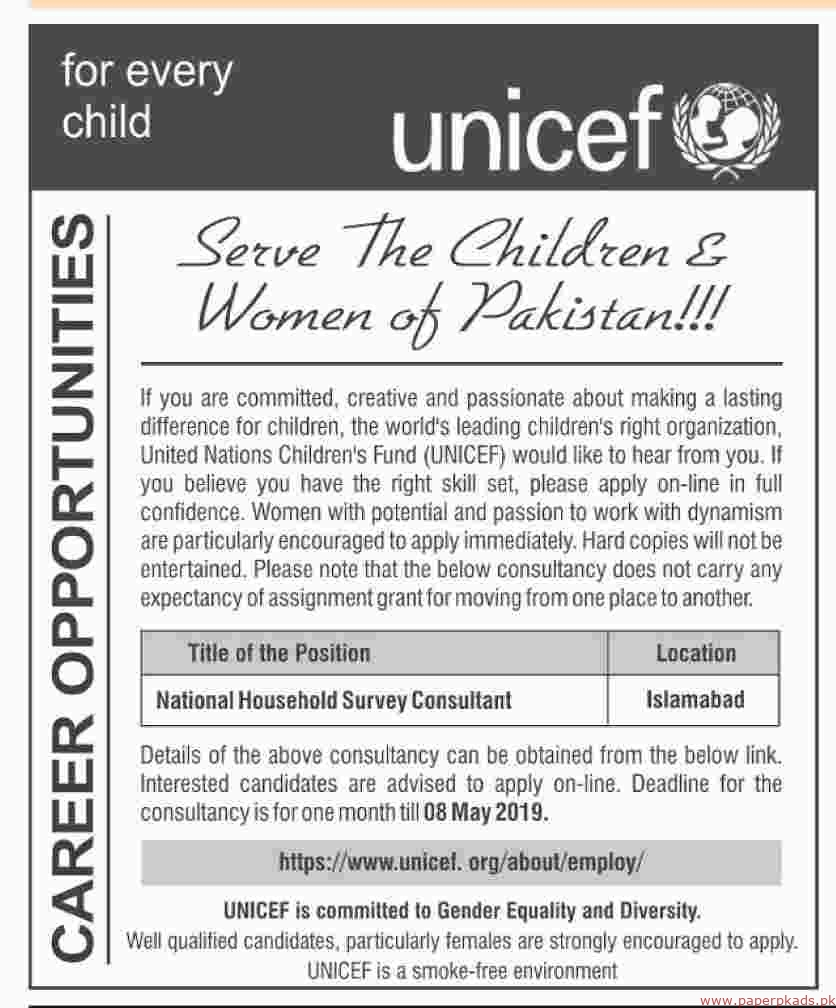 United Nations Childrens Fund (UNICEF) Jobs 2019 Latest