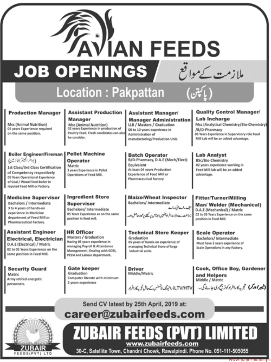 Zubair Feeds Private Limited Jobs 2019 Latest