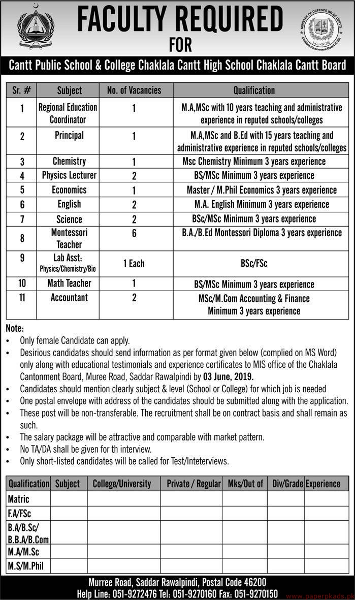 Cantt Public School & College Chaklala Jobs 2019 Latest