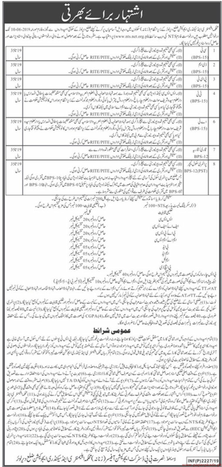 Elementary & Secondary Education Department Dir Lower Jobs 2019 Latest