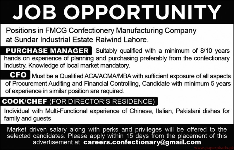 FMCG Confectionery Manufacturing Company Jobs 2019 Latest