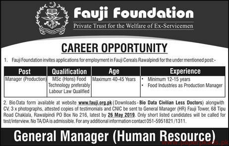 Fauji Foundation Private Trust Welfare Jobs 2019 Latest