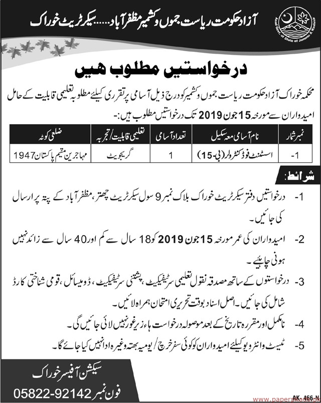 Food Department Jobs 2019 Latest