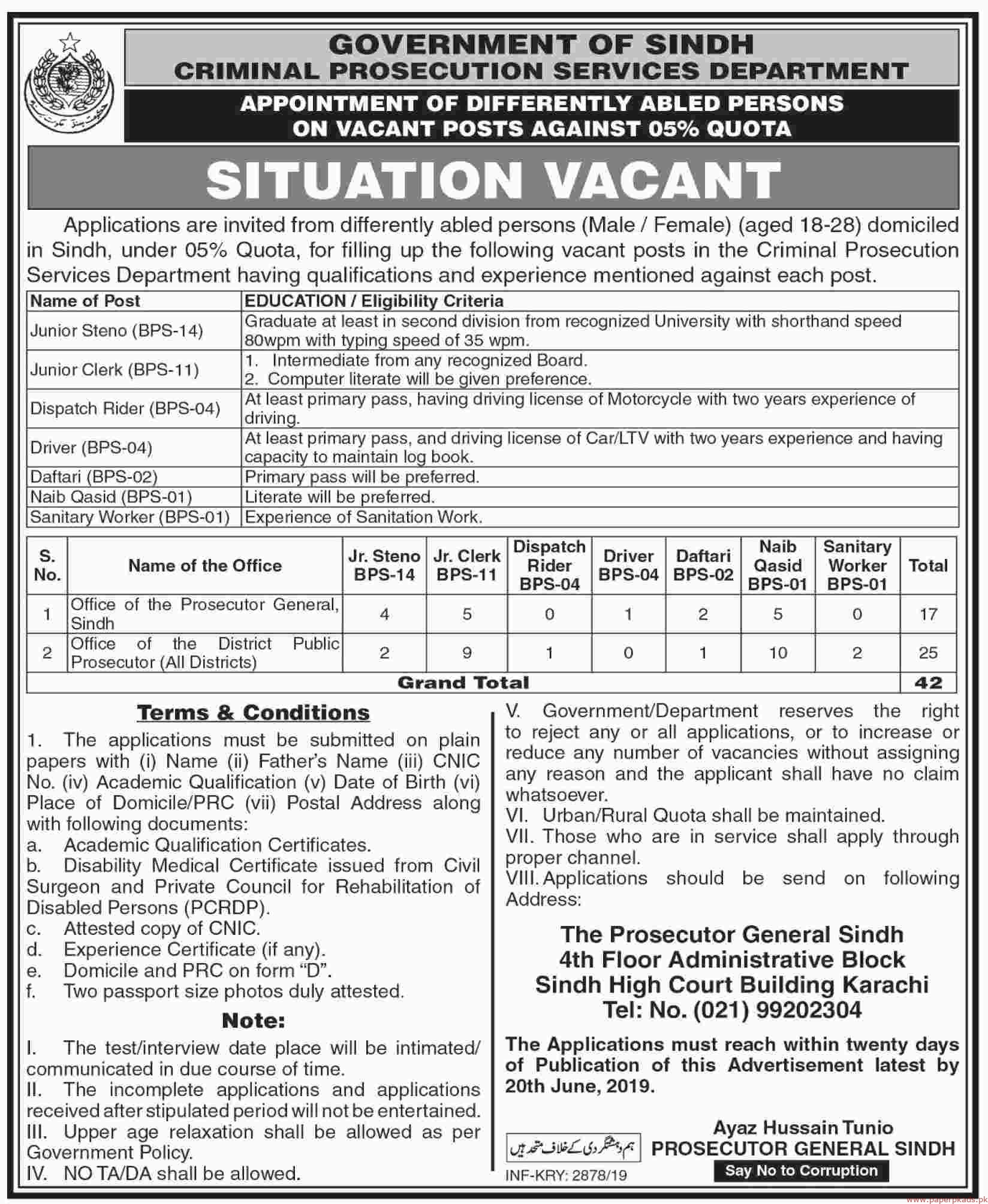 Government of Sindh - Criminal Prosecution Services Department Latest Jobs 2019