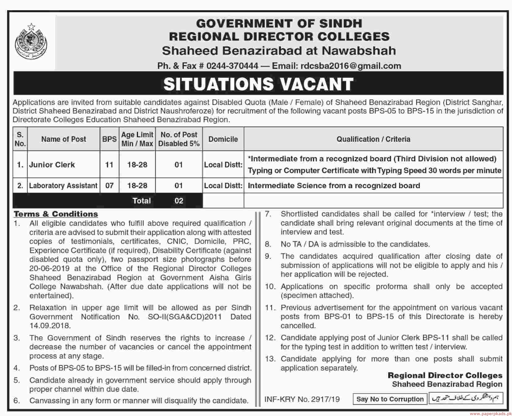 Government of Sindh - Regional Director Colleges Jobs 2019 Latest