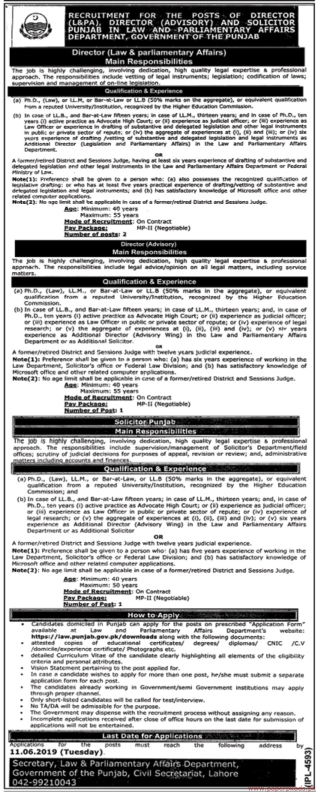 Government of the Punjab - Law and Parliamentary Affairs Department Jobs 2019 Latest