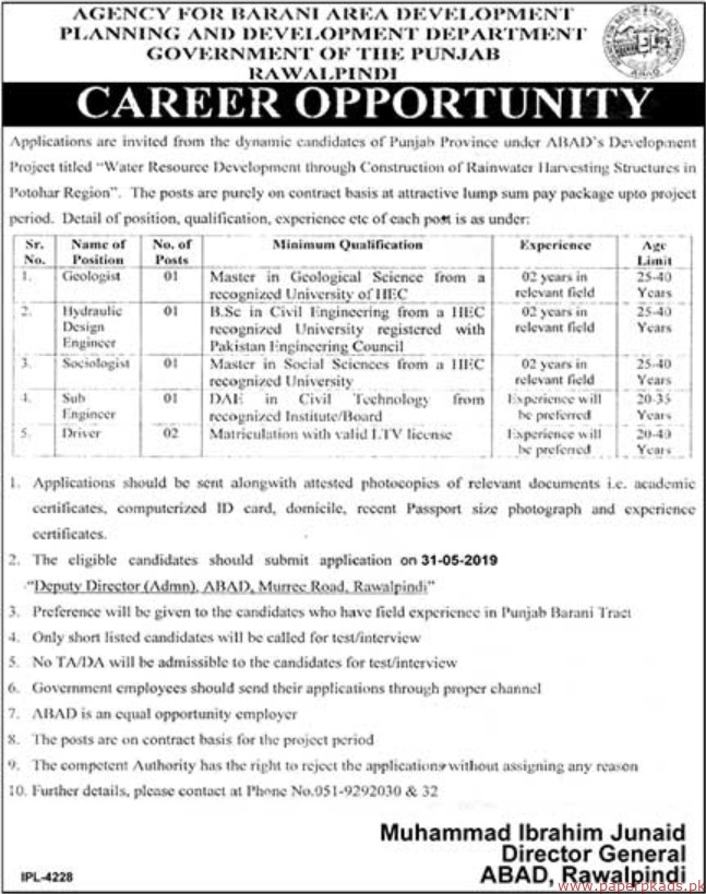 Government of the Punjab - Planning and Development Department Jobs 2019 Latest