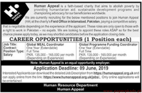 Human Appeal Charity Organization Jobs 2019 Latest