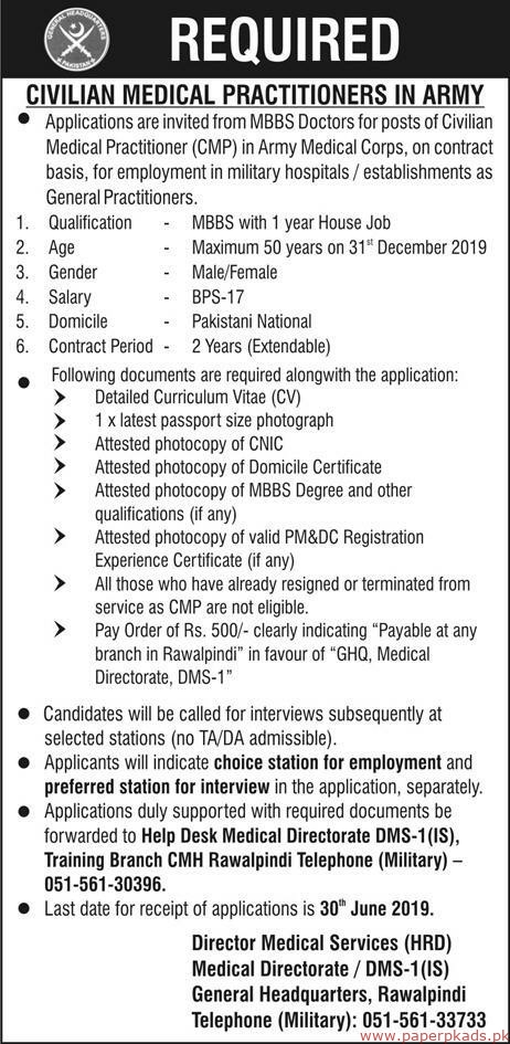 Join Pak Army Jobs 2019 Latest