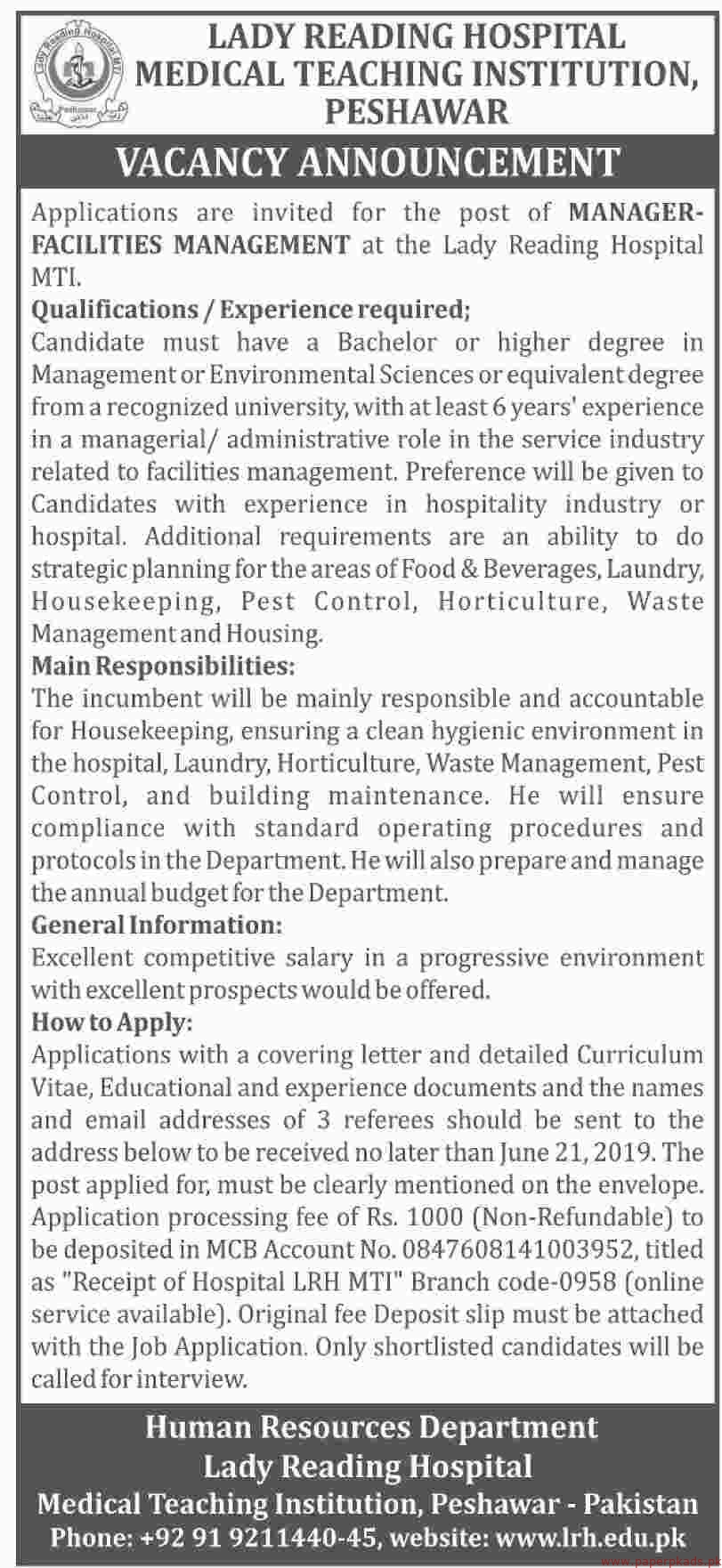 Lady Reading Hospital Jobs 2019 Latest