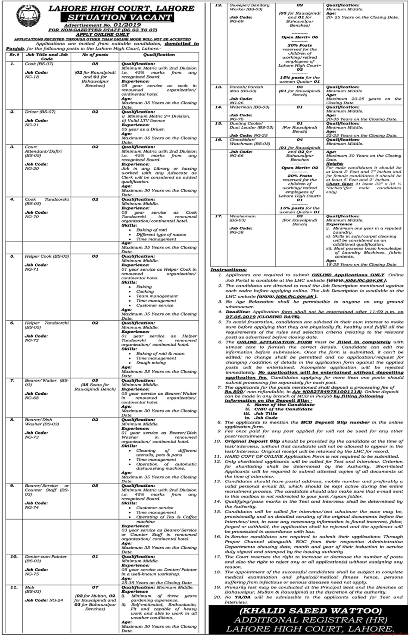 Lahore High Court Lahore Jobs 2019 Latest