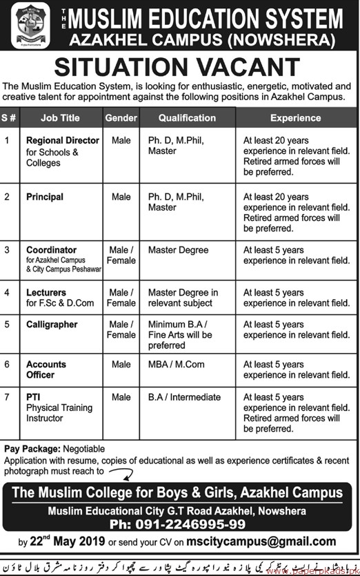 Muslim Education System Jobs 2019 Latest