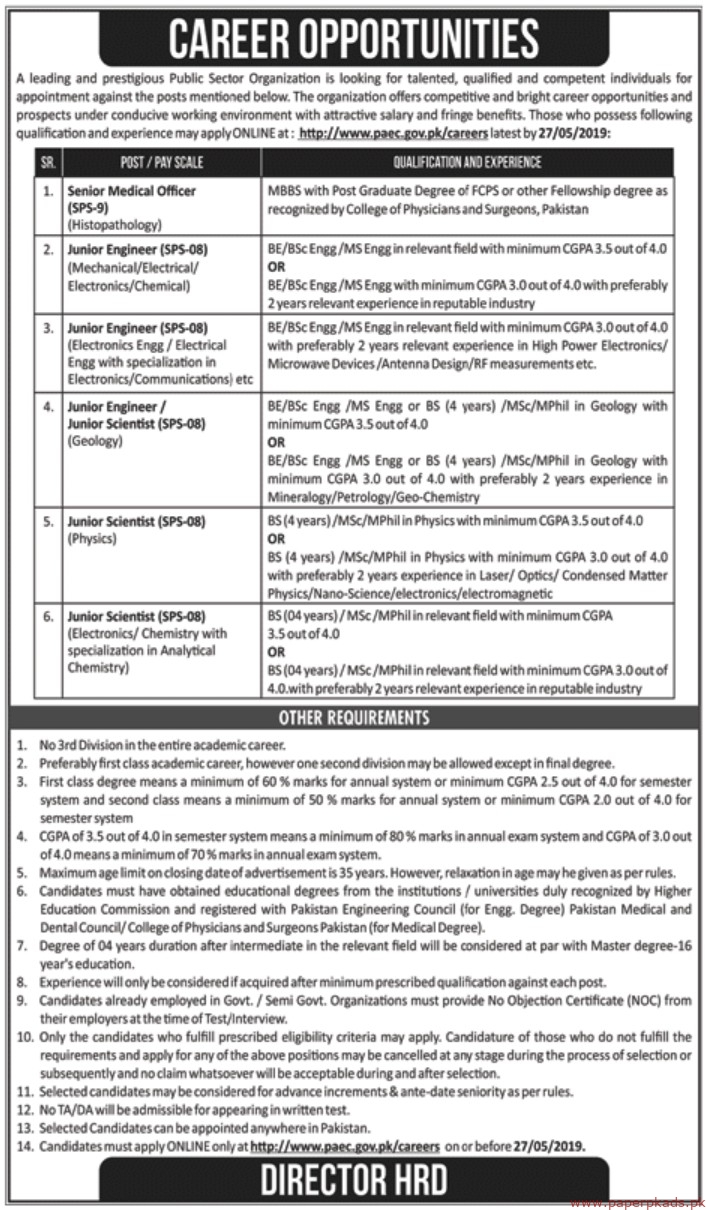 Pakistan Atomic Energy Commission PAEC Jobs 2019 Latest