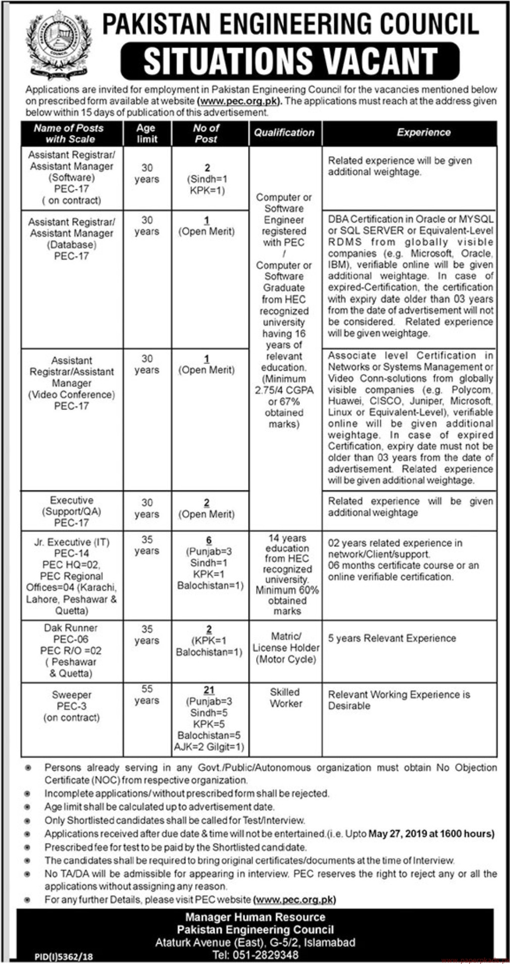 Pakistan Engineering Council Jobs 2019 Latest