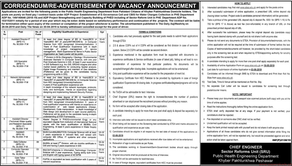 Public Health Engineering Department Khyber Pakhtunkhwa Jobs 2019 Latest