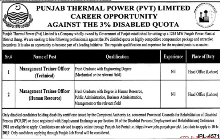 Punjab Thermal Power Private Limited Jobs 2019 Latest