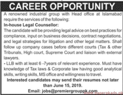 Renowned Industrial Group Jobs 2019 Latest