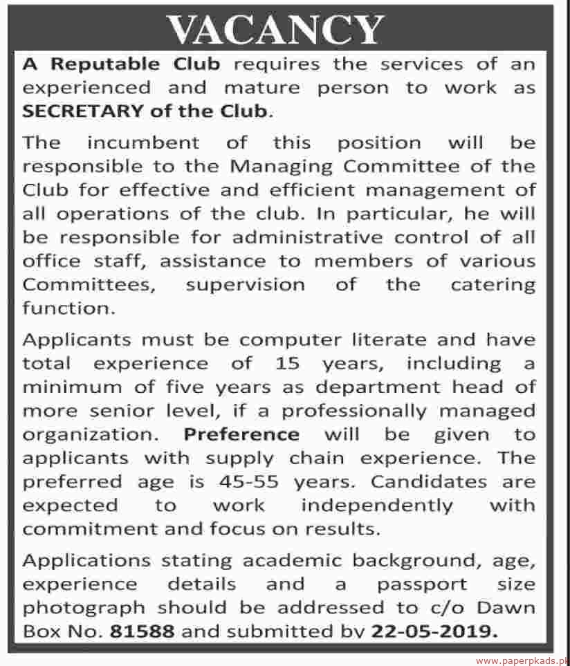 Reputable Club Jobs 2019 Latest
