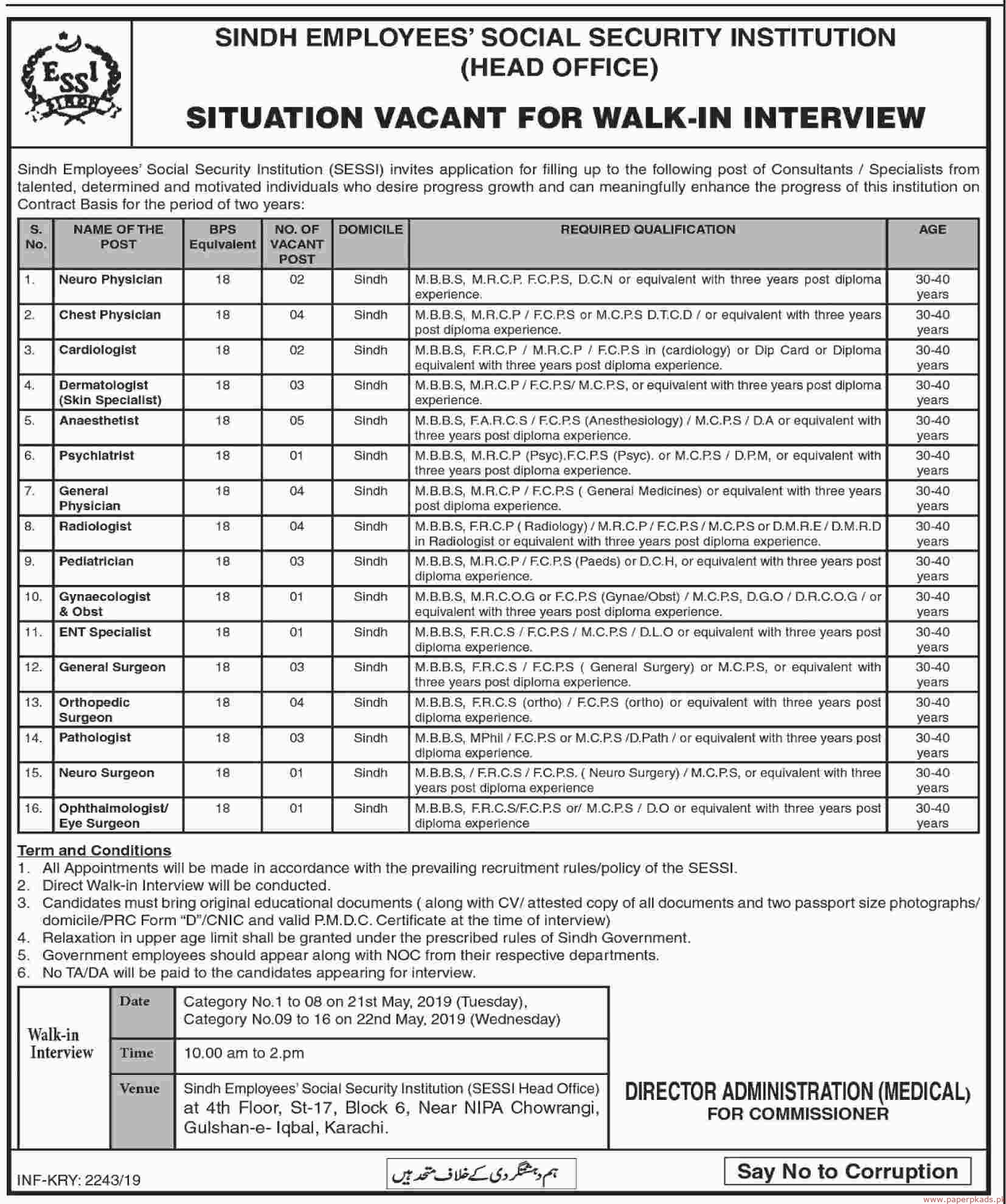 Sindh Employees Social Security Institution Jobs 2019 Latest