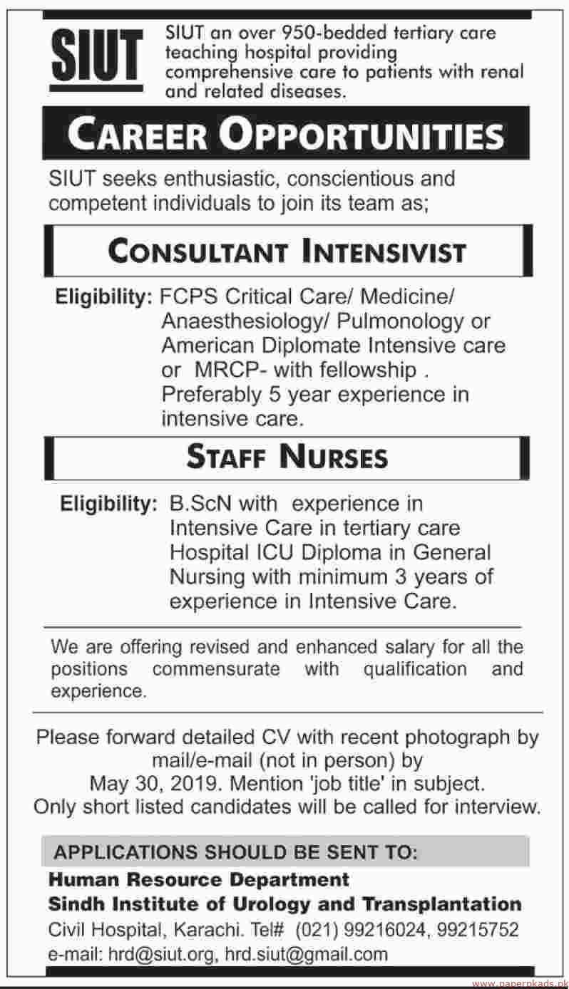 Sindh Institute of Urology and Tranplantation SIUT Jobs 2019 Latest
