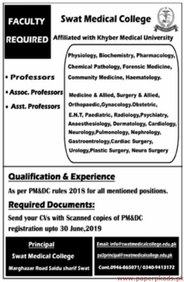 Swat Medical College Jobs 2019 Latest