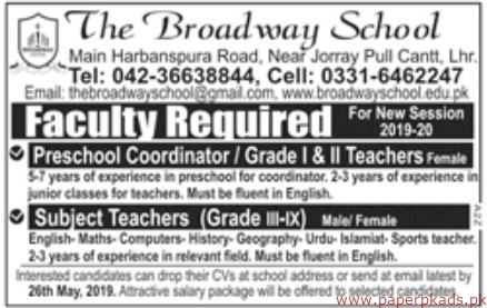 The Broadway School Jobs 2019 Latest