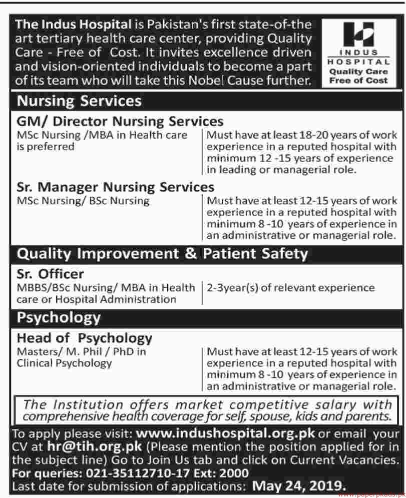 The Indus Hospital Jobs 2019 Latest